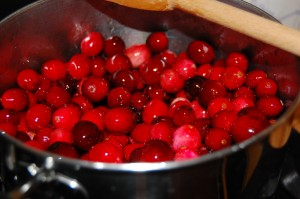 Cranberries in pot